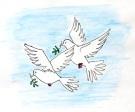 Deux colombes portant chacune un rameau d'olivier dans leur bec vous guideront.
